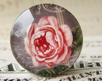 Pink rose on a blackboard, handmade glass cabochon, round 25mm cabochon, 1 inch circle, Fabulous Florals collection, bottle cap size