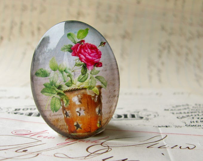 Pink roses in a bucket, handmade glass oval cabochon from our Fabulous Florals collection, vintage flowers image 25x18mm 18x25mm