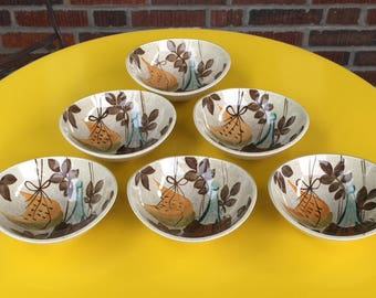 """Red Wing Pottery Futura Tampico Fruit Bowls, 4 1/2"""" x 5 1/4"""" each, set of six"""