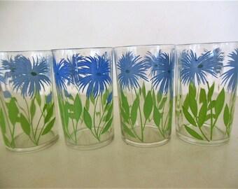 4 Swanky Swigs Juice Glasses, Cornflower Blue Flower, Green Leaves