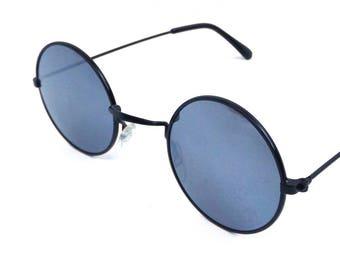 vintage 90s deadstock small round sunglasses black metal wire frame sun glasses eyewear classic traditional john lennon johnny depp 190