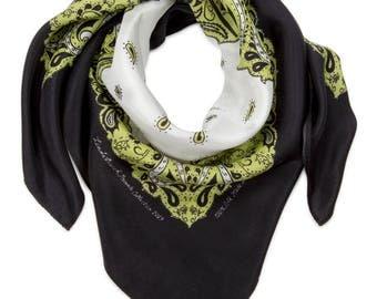 Lime Green, White and Black Silk Bandanna
