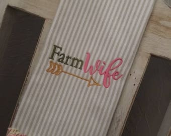 Farm Wife Dish Towel - Kitchen Towel - Hand Towel - Embroidered Tea Towel with Ruffle