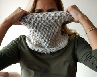 Knitted Cowl in bright grey - white, extra warm and thick