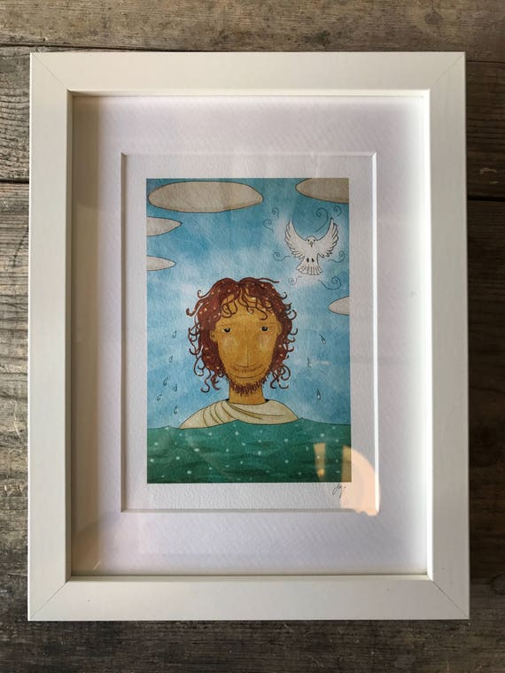 SALE! JSB Jesus & Dove - Mini Framed Print