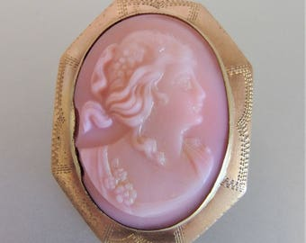Vintage Pink Victorian Style Molded Milk Glass Cameo Brooch