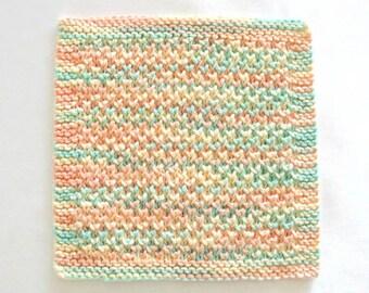 Cotton Washcloth Knit Face Cloth Pastels Hand Knitted Facial Washcloth
