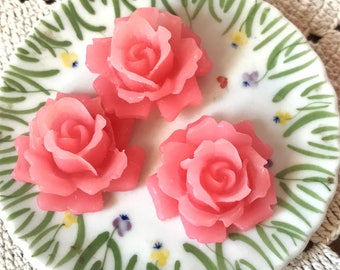 2 Vintage ROSE Cabochons Shabby Cabbage Rose 34mm Large PINK Cottage chic #744