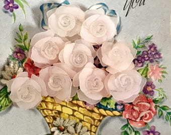 8 Shabby chic Roses, Cottage Chic Beads, Vintage Lucite Roses, Pink Lucite flowers, Lucite Flowers, Rose Cabochons, 3D flower cabochons NOS
