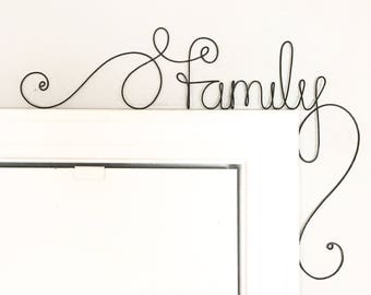 "Unique ""family"" Door Sign,  Unique Over the Door ""family"" Wall Word"