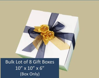 "8 LARGE Gift Boxes - Bulk Lot of 10"" x 10"" x 6"" for Stemware, Stemmed Glasses, Wedding Favors, Accessories, Clothing, Groomsmen's Gifts"