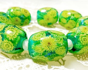 Sunflower Garden Satake Glass Lampwork Flower beads set sra
