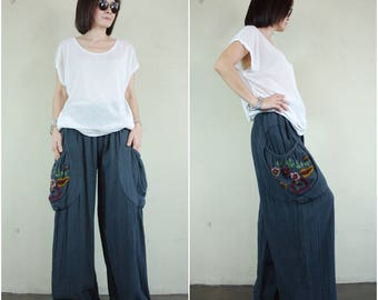 Look At Me Now...Simply Wide Legs Dark Charcoal Gray Cotton Pants With Floral Hand Embroidered Detail On Right Pocket