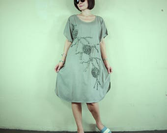 Boho Scoop Neck Dusty Olive Taupe Light Cotton Rayon Tunic Dress With Floral Applique Detail Women Tops Midi Dress Oversize Dress - SM705B
