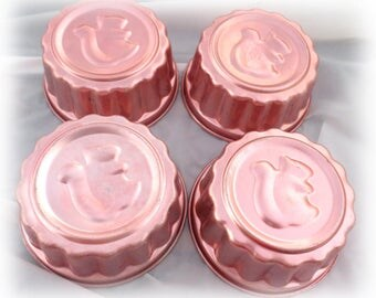 4 Vintage Squirrel Copper Jello Molds All Sorts of Uses, Jello, Cakes, Trinkets, Buttons, Baubles