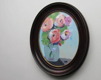 original painting - Peonies in Blue Vase -antique oval frame - framed painting - antique - vintage