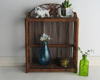 Vintage Wicker storage shelf – Smaller Rattan Shelf - mid century – Boho décor