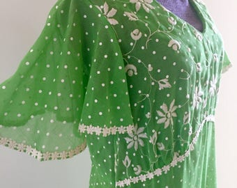 Vintage 1970s Lime Green Polka Dot Maxi Dress RARE Lane Bryant Semi Sheer Plus Size