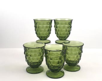 Vintage Set of 5 Avocado Green Indiana Glass Whitehall 1960s Colony Cubists 8 oz Footed Goblets