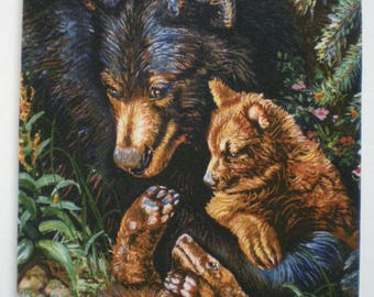 Mama bear with babies mousepad