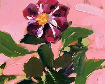 Dahlia Flower Original Oil Painting by Angela Moulton 9 x 12 inches