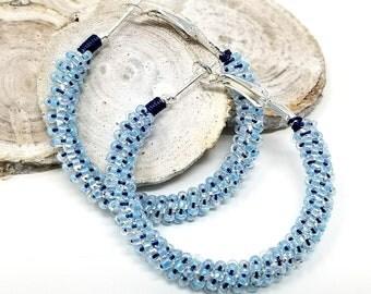 Baby Blue Hoop Earrings, Beaded Hoop Earrings, Her Birthday, Spring Summer Hoop Earrings, ChristalDreamZ, Seed Bead Earrings, Large Hoops