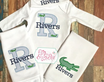 Alligator Baby Set, Custom Baby Boy Alligator Set, Baby Boy Alligator Gift Set
