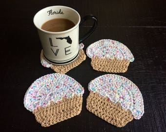 Cupcake Coasters, Set Of Four Crochet With Cotton Yarn, Cupcake Mug Rug,  Housewarming
