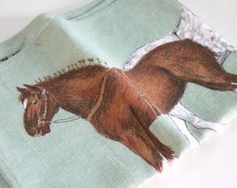 Vintage Tea Towel - Novelty Tea Towel - HORSES - cotton linen - mint, sea-foam green