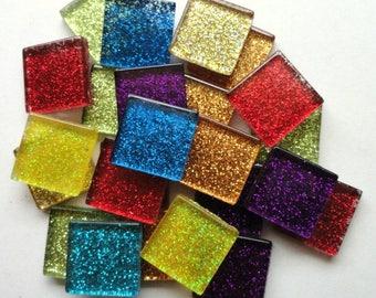 CLEARANCE 20mm Mix Glitter Metallic Glass Mosaic Tiles//Mosaic Supplies//Mosaic Pieces