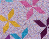 SPECIAL ORDER for Sher Stev - Stars in My Garden Twin Size Quilt - Handmade, Teen, Colorful, Patchwork
