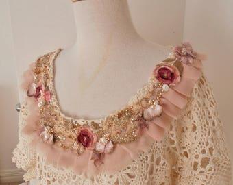 plus size XL Vintage cotton lace Dress. Shabby Chic Lace Dress. Woodland Wedding dress, crochet lace dress