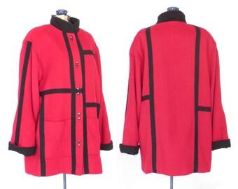 Oversized Color Block Coat * 80s Wool Jacket * Vintage Modernist Parka * Large