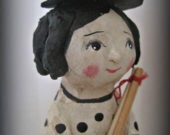 Little witch - clay art doll- paper mache - OOAK doll- handmade art doll- folk art
