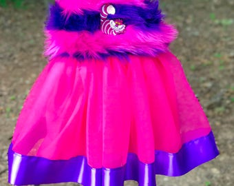 Cheshire Cat Costume: tutu dress, pink & purple, halloween costume, alice in wonderland birthday party, parks trip, meet and greet