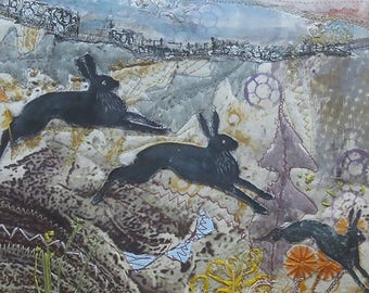Hares on the Mountain - A Mixed Media Picture - Textile Art - Fabric hand printed - Hand  embroidery,  Machine Embroidery - Moorland Colours