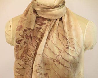 "Botanical Print Silk Scarf - Sumac Willow - Wisconsin Local Color - CHM11121720 - approx. 11""x60"" (27 x 152cm)"