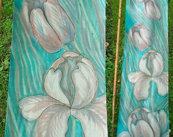 Tulips hand painted silk scarf/ wall hanging. Turquoise blue mint green scarf with pastel pink tulip flowers by silkartist SingingScarves