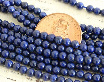 3mm Round Lapis Lazuli Beads - 3mm Round Gemstone Beads  For Jewelry Making - Supplies - 16 Inch Strand
