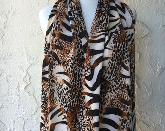 Gorgeous Animal Print - Dining Scarf - Stylish bib for mom - Dignity Scarf for grandma - Elegant bib scarf for dining in/out - Elderly bib
