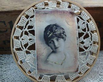 Crochet Doily Embroidery Hoop, Victorian Woman, Shabby Chic Wall Decor