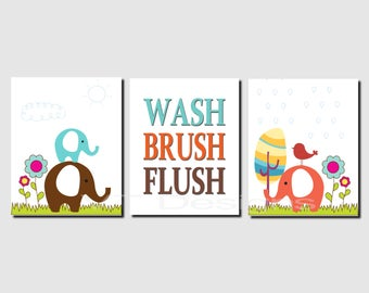 Elephant Bathroom Art, Kids Bathroom Art, Jungle Animals Bathroom Art, Wash, Brush, Flush, Bathroom Rules, Boy, Set of 3, Prints or Canvas