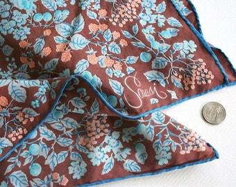 Vintage silk scarf by Scaasi. Floral scarf, blackberries scarf, foliage scarf, fall scarf, brown scarf, peach scarf, blue scarf, fine silk