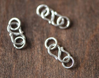 10pcs Sterling Silver S Hook 10mm, S Shaped Necklace Clasp with Jump Rings, .925 Silver Connectors (S017-2)