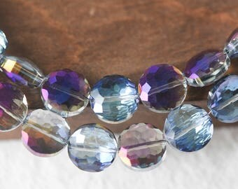 50pcs Crystal Glass Faceted Round Coin Beads 14mm Sparkly Purple Blue- (TS05-7)