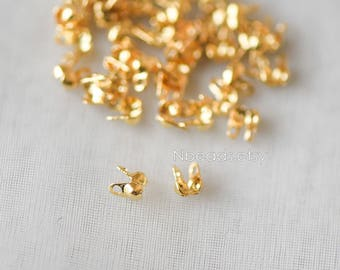 50pcs  Side Clamp Bead Tips 2.5mm, Gold plated Brass, Lead Nickel Free (GB-134-1)