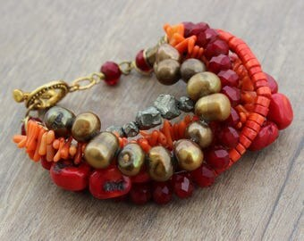 Red Orange Statement Bracelet