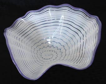 Beautiful Hand Blown Glass Art  Platter Bowl  7684 White ONEIL