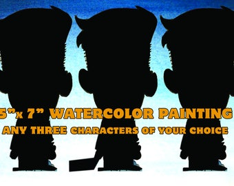 CUSTOM Three Subject Watercolor painting - ANY person/character of your choice