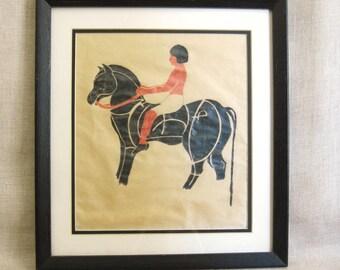 Vintage Equestrian Drawing, Horse, Male Portrait, Jockey, Rider, Colored Pencils, Man on Horseback, Original Fine Art, Framed,Works on Paper